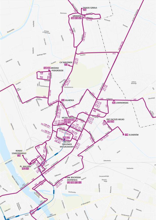 Trasy autobusów po otwarciu wschodniego odcinka M2 UM