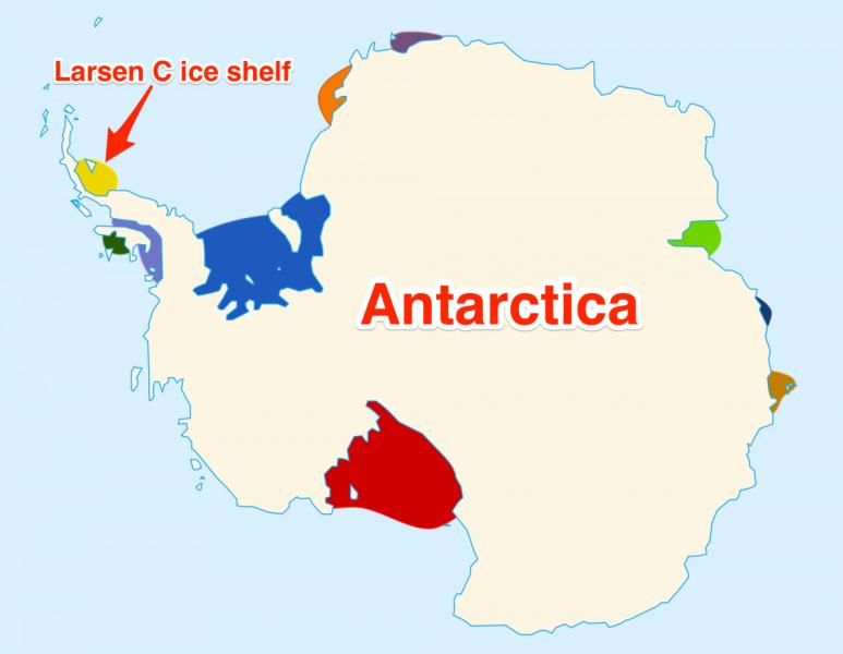 Położenie lodowca Larsen C