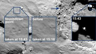 Ostatnie chwile przed historycznym lądowaniem w cieniu skały